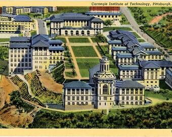 Carnegie Institute of Technology Pittsburgh Pennsylvania Vintage Postcard 1945