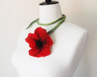 Fiber Felt Necklace Red Poppy Flower Necklace summer Lariat