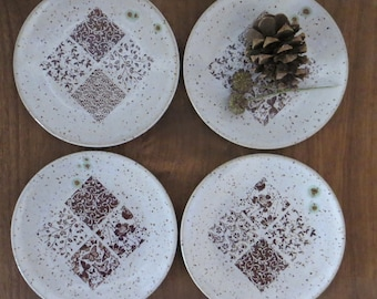 Tapas Snack Plate Set of 4 - Handmade Stoneware Ceramic Pottery - White - Abstract Design