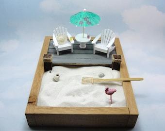 miniature zen beach garden kit, 2 miniature adirondack chair with umbrella table, deck, straw hat, beverages, rake