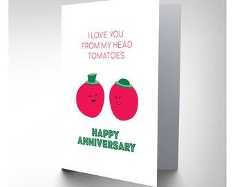 Card Anniversary Wedding Tomato Pun Love CP2955