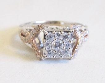 Diamond Cluster Twist Engagement Ring 14k White Rose Gold Heart Engraving