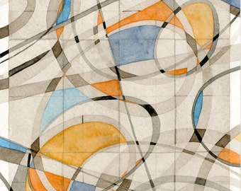 Abstract Watercolor Painting on paper modern contemporary geometric decor art grey orange blue brown sepia transparent ovals lines rectangle