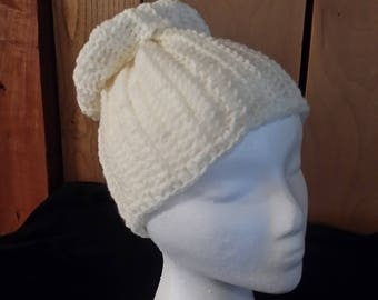 Cream Ivory Crocheted Messy Bun Ponytail Beanie Hat