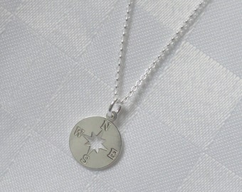 Sterling silver compass necklace, Compass necklace, Farewell gift, Graduation gift, Silver compass necklace