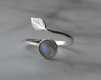 Sterling Silver Labradorite Adjustable  Feather Wrap Ring, Labradorite Feather Ring, Gemstone Feather Ring, Labradorite Ring, Gift For Her