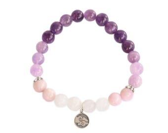 Air element bracelet / amethyst moonstone bracelet / purple bracelet  / yoga bracelet / yoga gift / energy bracelet / beaded bracelet