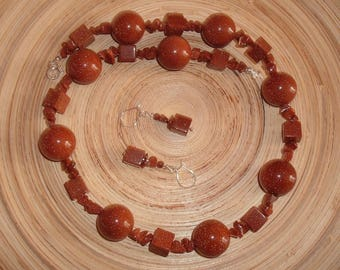 Sparks - necklace and earrings made of goldstone and silver