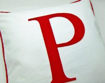 Letter Pillow - monogram pillow / Cover / Red Letter pillow / letter pillowcase / initial pillow case - letter cushions -monogram throw case