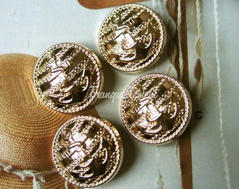 2 Large Retro Vintage Style Gold Golden Nautical Sailor Anchor Boat Military Jacket Coat Sweater Metal Button 1 Inch / 2.5 cm