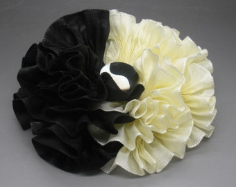 Millinery Flower Black and White Applique Yin Yang