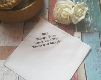 Father of the Bride Handkerchief, Wedding Handkerchief, Personalised Handkerchief, Father of the Bride Gift, Dad Handkerchief, Dad Hanky