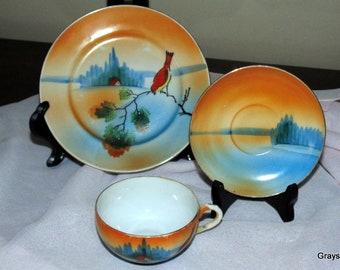 Demitasse teacup set • Tea Cup, Saucer, Plate • 3 Piece Set • Hand Painted Porcelain • Made in Japan • Beautiful Condition