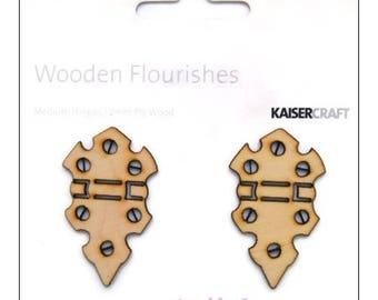 Set of 2 wooden hinged Kaisercrafts scrapbooking cardmaking cut *.