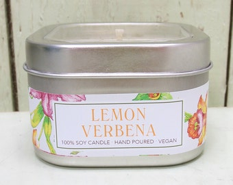 Lemon Verbena Soy Candle 8 oz. - Green Daffodil - Handpoured - Siouxsan and Anne -C8