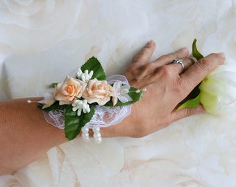 Peach rose corsage, bridal corsage, wedding corsage, bridesmaid corsage, silk flower corsage, bridesmaid's corsage, flower corsage