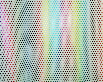 """METALLIC  Leather 2 pieces 5""""x11"""" Rainbow OF COLOR Polka Dots on White Cowhide #220 3 oz / 1.2 mm PeggySueAlso™ E3455-02"""