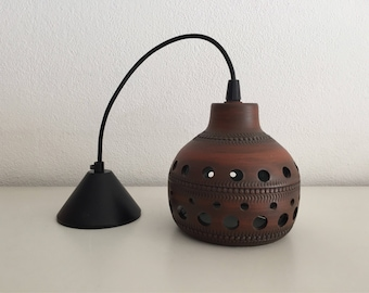 Ceramic Earthenware pendant light from the years 70 seventies retro lamp brown