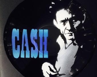 Artistic version of Johnny Cash vinyl record spray paint decoration handmade stencil clock