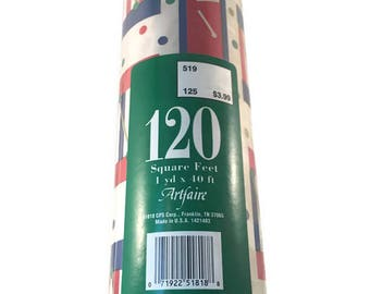Extra Large Christmas Wrapping Paper Roll, 120 Square Feet, 1 Yd x 40 Feet, Artfaire Made in USA, Christmas Drums Red Blue White
