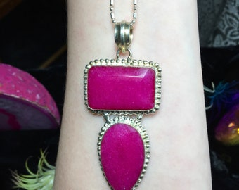 925 Stamped Pink Garnet  Necklace