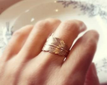 Feder Ring, Ring aus Messing, Feder Ring aus Messing, Gold Feder Ring, Antik Messing-Ring, Silber Feder, Silber ring
