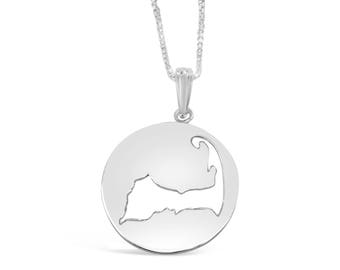 Cape Cod Map Necklace-  925 Sterling Silver NEW design Beach Ball from Cape Cod Jewelry by Michael's-Provincetown