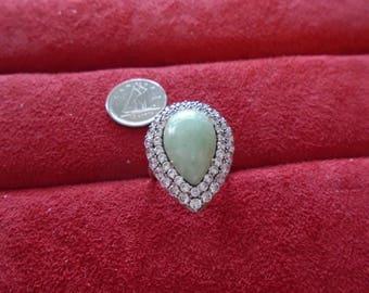 Jade & CZ Tear Drop Sterling Silver Ring Sz 7