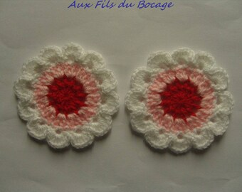 Colorful crocheted wool, 8 cm flowers.