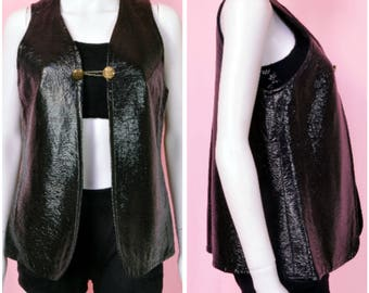 Black vegan leather vest