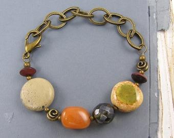 Chunky Gemstone Bracelet, Earthy Bracelet, Orange Brown Green Rust, Chunky Bead and Chain Bracelet  BC1-5