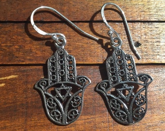 Hamza Hand Earring...Sterling Silver Earrings...Hand of Fatima...Protection Earring...Good Luck ...Vintage..Vintage Shop