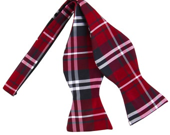 New Men's Plaid Black Red White Self-Tie Bowtie, for Formal Occasions 2012