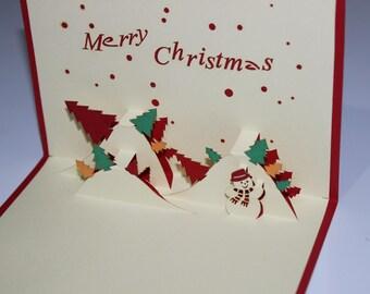 Snow man, Pop Up Card, Birthday Card, Greeting Card, Birthday Pop Up Card, Christmas Card, Get Well Card, Anniversary Card