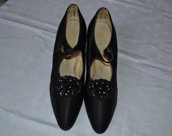 vintage shoes, 1920s, satin, black, flapper, Art deco, Edwardian,leather soles, ruffle trim, diamante, UK4.5