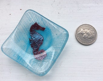 Seahorse trinket dish made from fused glass