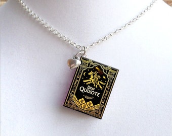 Don Quixote with Tiny Heart Charm - Miniature Book Necklace - Style 2