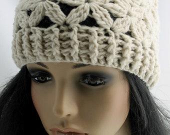 Crocheted Jasmine Flower Beanie. Hat. Natural.