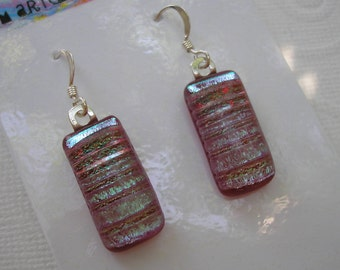 Fused Glass Earrings, Dichroic Cranberry Pink, with Aqua Silver Frost,  .925 Sterling Dangles, Iridescent Earrings, Silver Jewelry, Womens