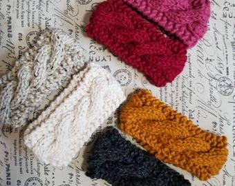 Knit cable headband