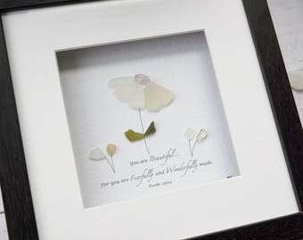 Sea Glass Art, Bible Quote, Sea Glass Flower, Mothers Day Gift, Gift for Daughter, Psalm Quote, Home Decor, Gift for Friend, Rebecca Kate