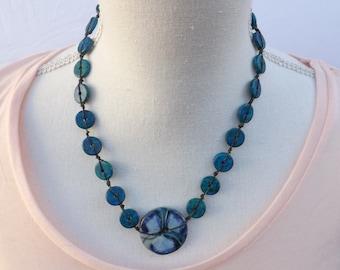 Blue necklace, ceramic necklace, Aegean necklace, fun jewellery, summer necklace, Boho jewellery, Asymmetric necklace