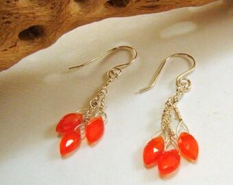 Sterling Silver and Carnelian Earrings, Carnelian Earrings, Sterling silver and Carnelian briolette earrings