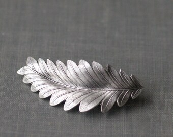 Leaf hair clip barrette grecian bridal goddess silver finish neoclassical regency wedding hair accessory