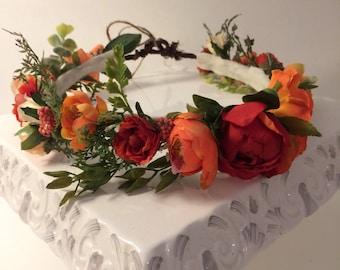 Fall Flower Crown, Flower Crown, Autumn Flower Crown, Flower Halo,