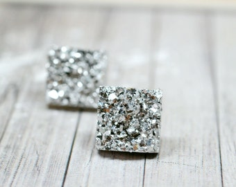 Bright Silver Square Earrings, 12mm Faux Druzy, Metallic Glitter Posts, Glittering Silver Stainless Steel Studs