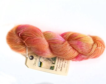 Hand Painted DK/Aran Kid Mohair Yarn in Softly Blended Shades of Gold & Pink