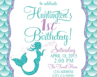 ON SALE Mermaid Birthday Invitation, Mermaid Party Invite Under the sea mermaid glitter