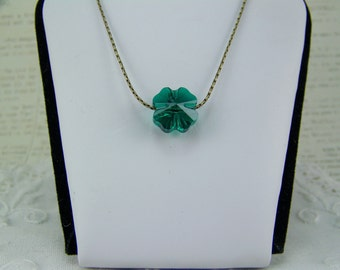 Shamrock Necklace, Four Leaf Clover, Swarovski Crystal, Crystal Shamrock Necklace, St. Patrick's Day, Emerald Necklace, May Birthstone