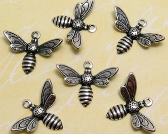 Baby Bee Charms, Antiqued Silver, Trinity Brass, 6 Pc. AS107